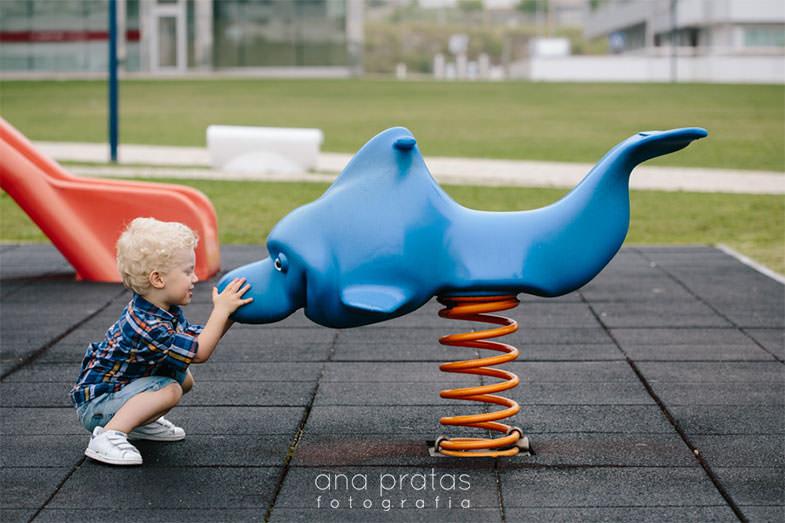 criança a falar com golfinho de baloiço