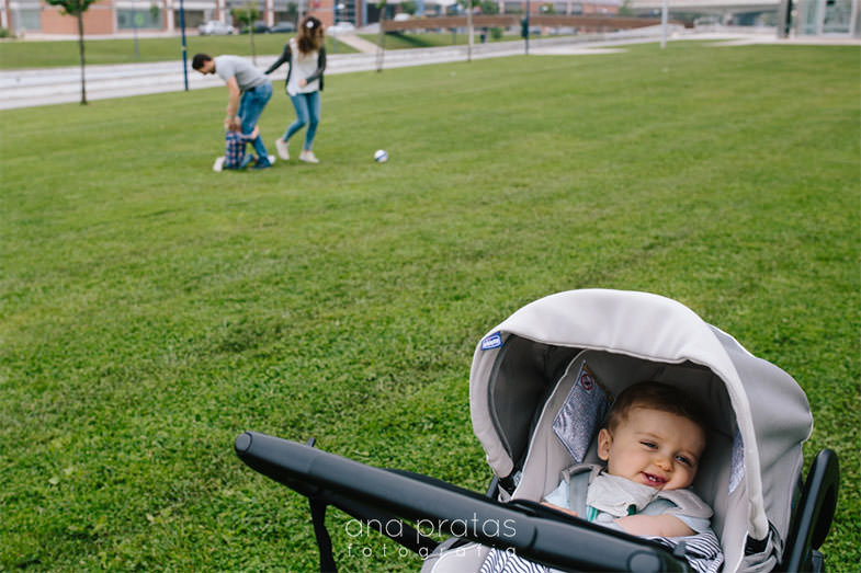 bebé no carrinho enquanto o resto da família brinca no parque