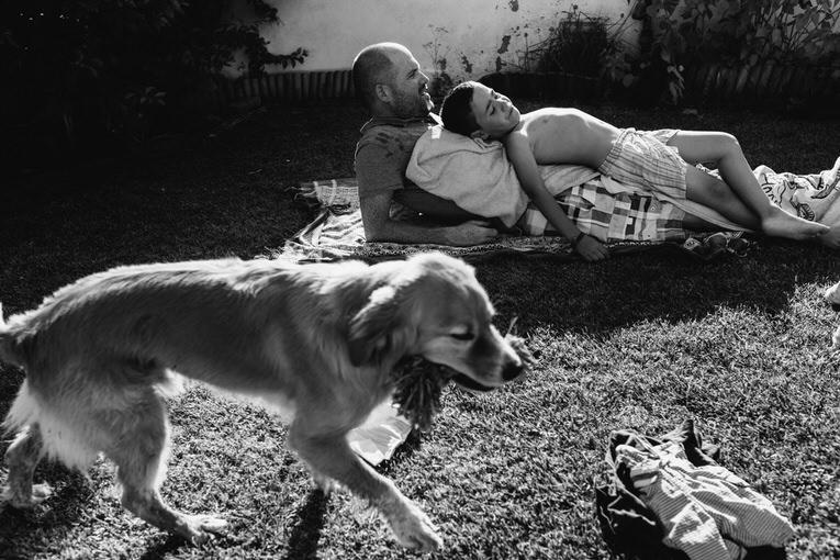 Pai e filho e cão no quintal ao Sol